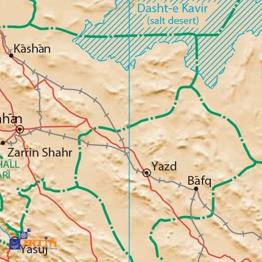 Bafq desert map in Iran
