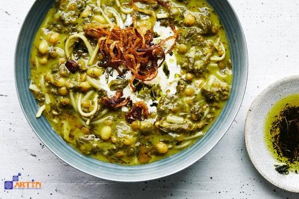 Ash-e Reshteh Persian herb soup salty delicious
