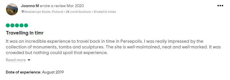 Persepolis in Iran travel review