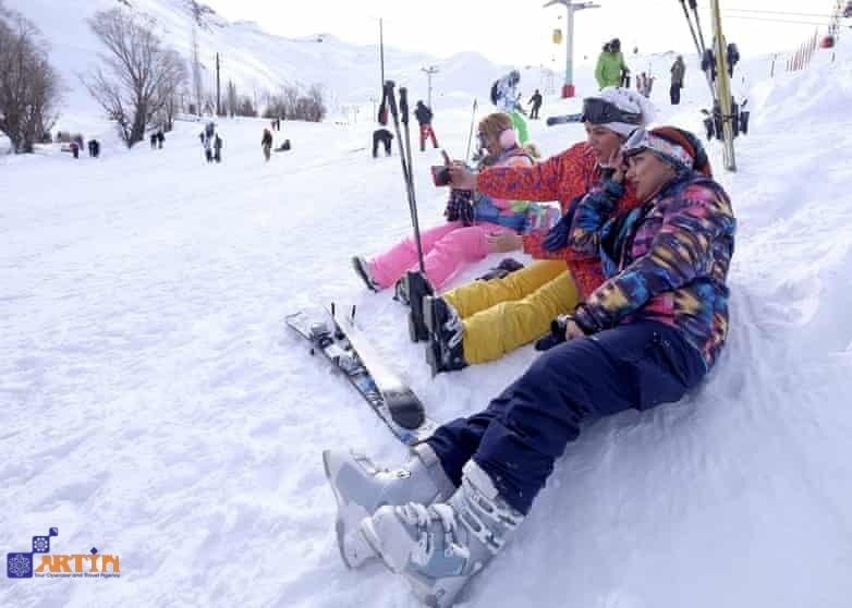Dizin skiing piste in Iran tour